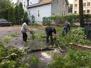 L to R: David McKnight, Mike Green, Bulat Resic cutting up branches for disposal