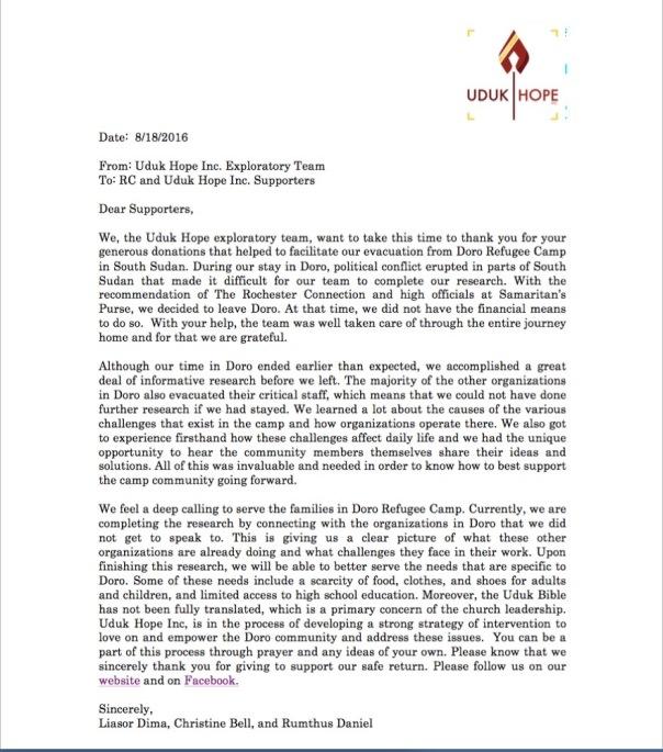 Uduk Hope Letter
